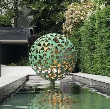 Verdigris and Gold Sphere Sculpture