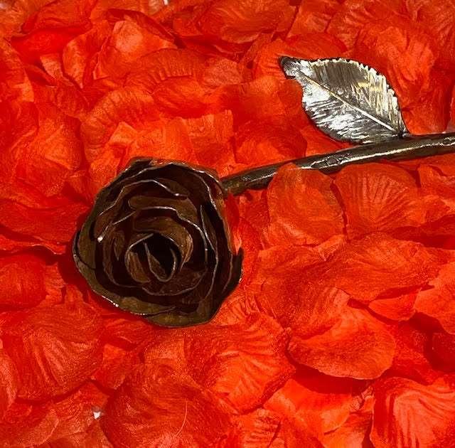Intricate Handmade Copper Rose