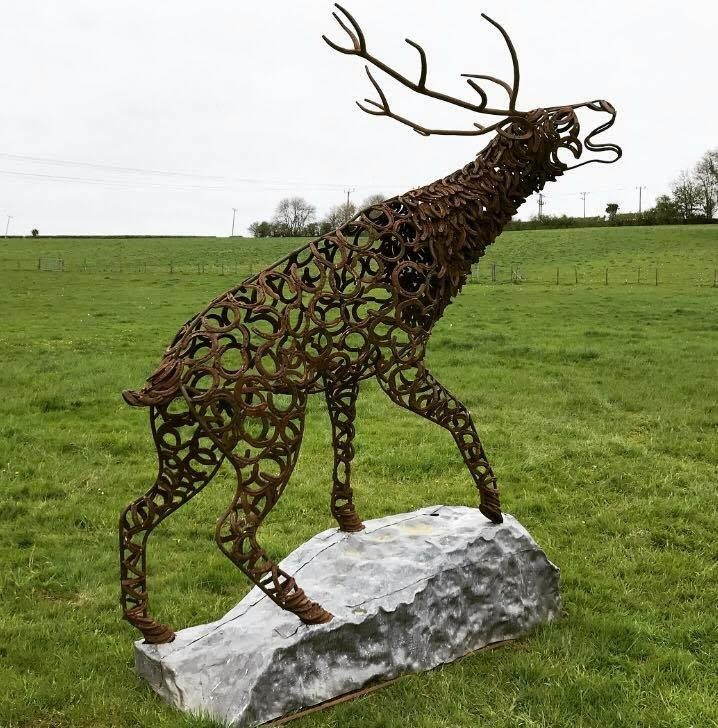 Bronze Horseshoe Stag With Antlers