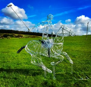 Horse and Jokey Playing Polo Sculpture