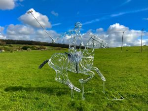 Horse and Jokey Playing Polo Silver Sculpture