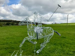Horse and Jokey Large Playing Polo Sculpture