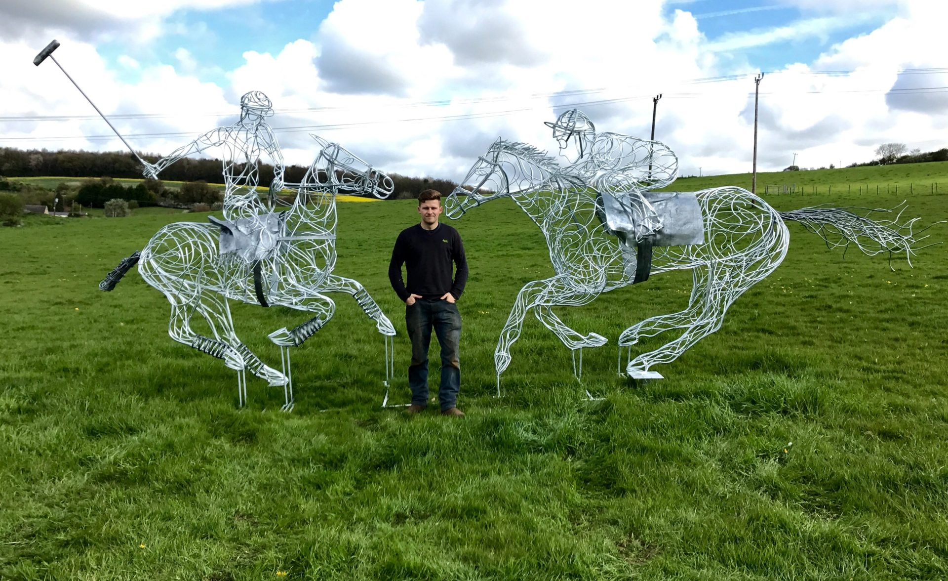 Horse and Jokey And Playing Polo Sculptures