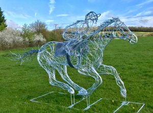 Horse and Jokey Silver Galvanised Sculpture In Field