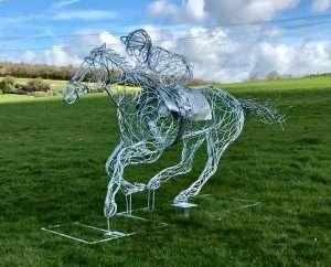 Horse and Jokey Facing Forward Side View