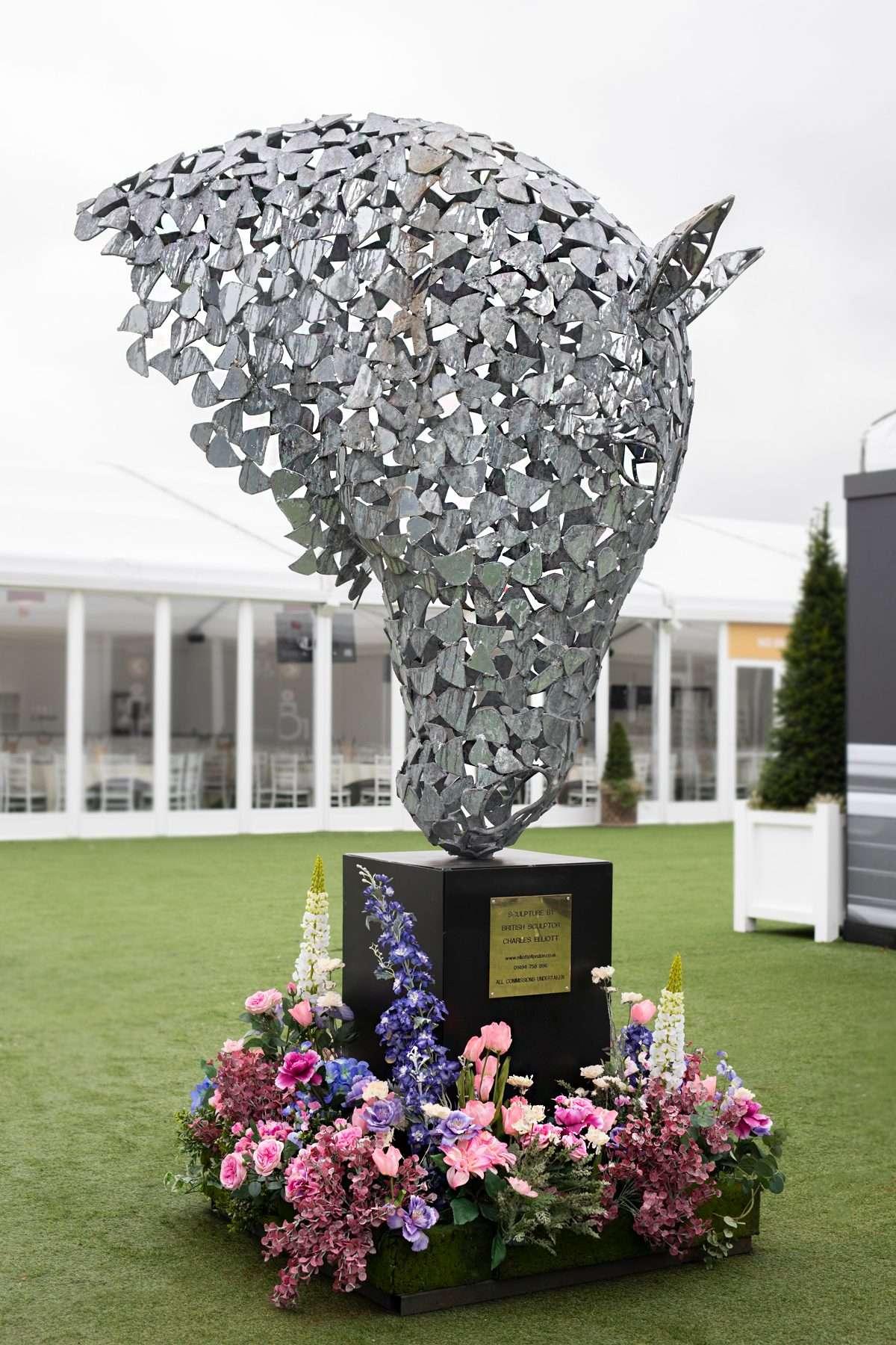 Silver Horse Head On Black Plinth