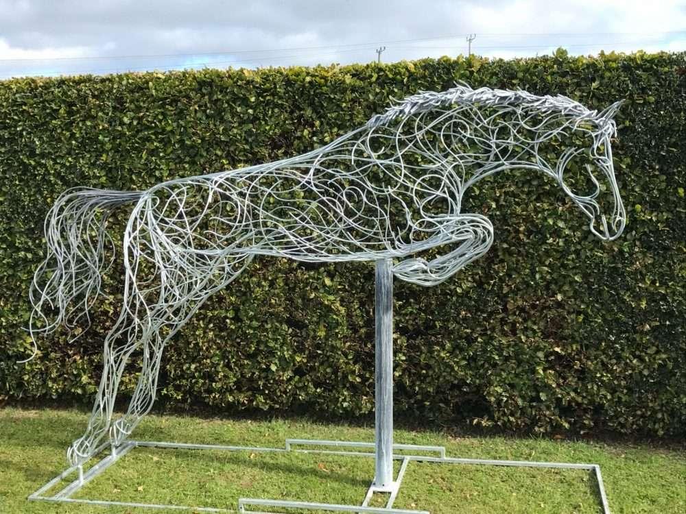 Silver Jumping Horse Sculpture