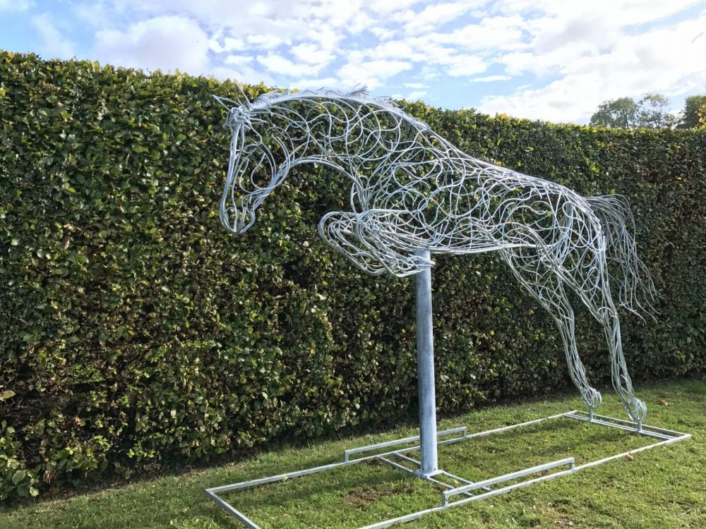 Side View of Wire Jumping Horse