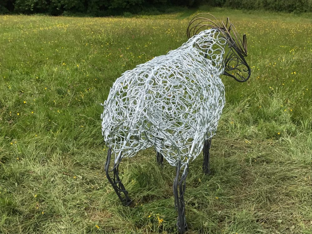 Black And White Ram Sheep Sculpture