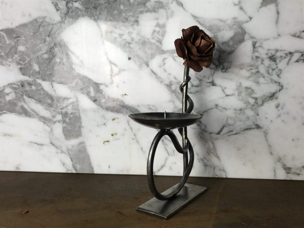 Metal Flower Candle Holder Marble Background