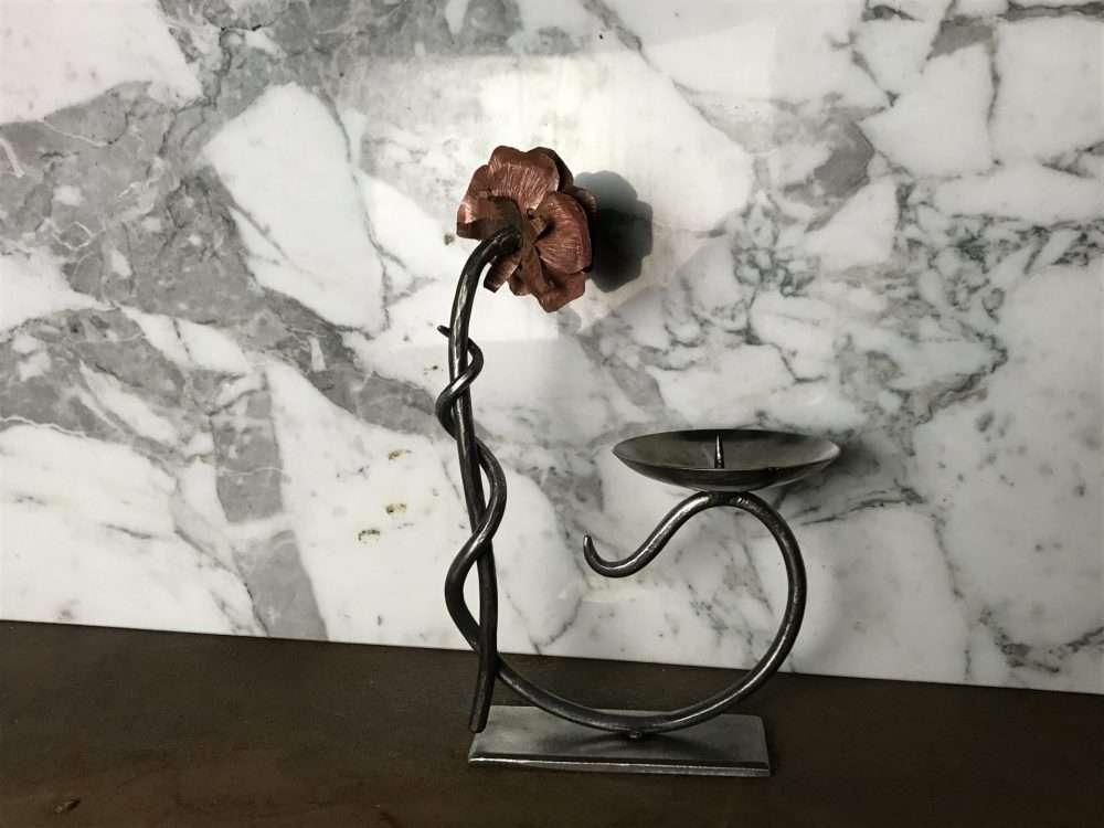 Metal Flower Facing Away Candle Holder