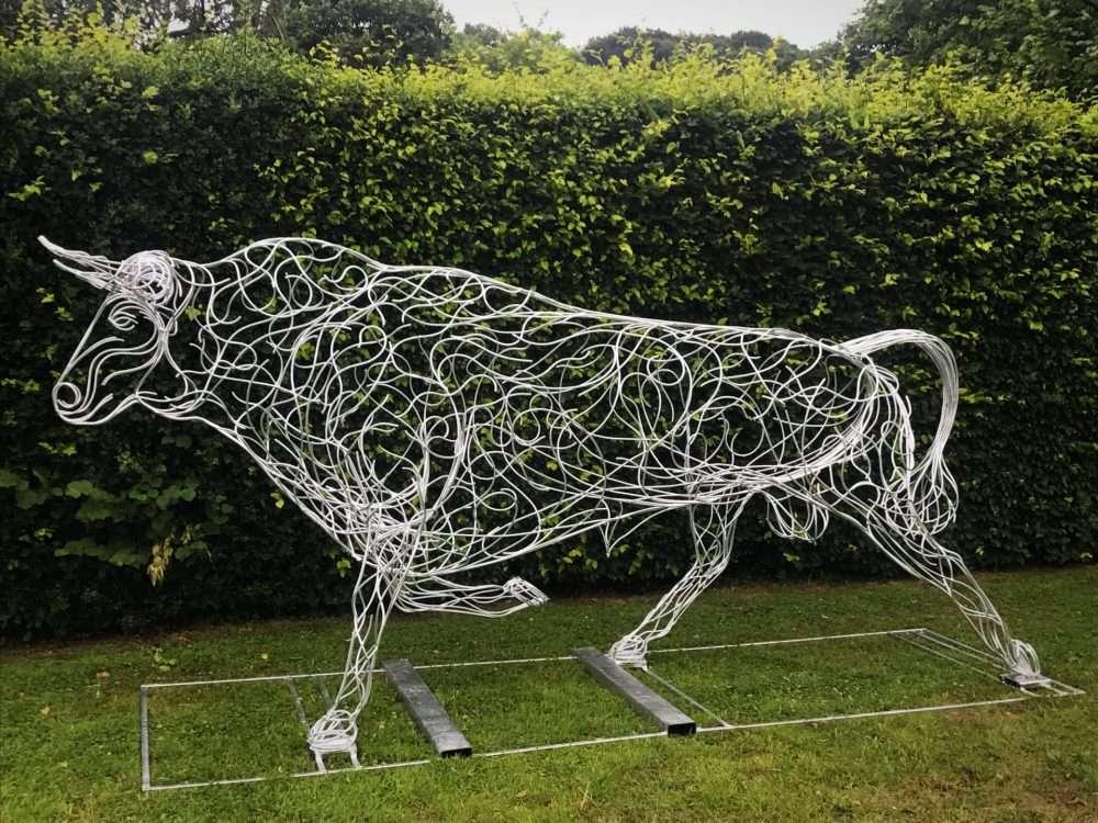 Silver Bull Sculpture
