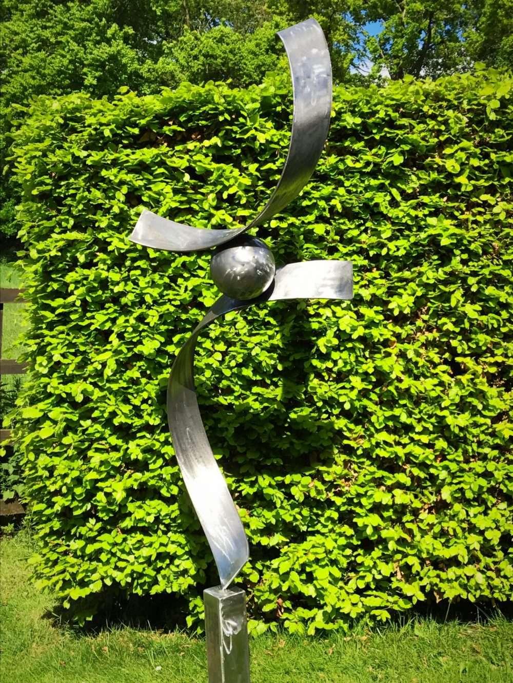 Silver Spiral Abstract Sculpture