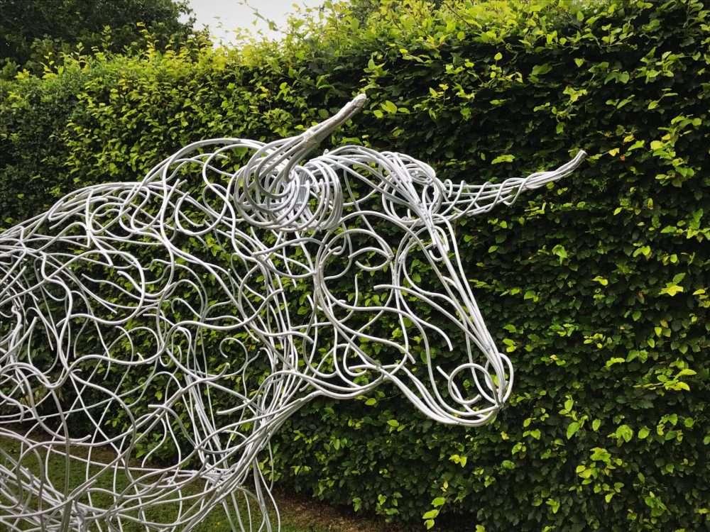 Galvanised Silver Bull Sculpture