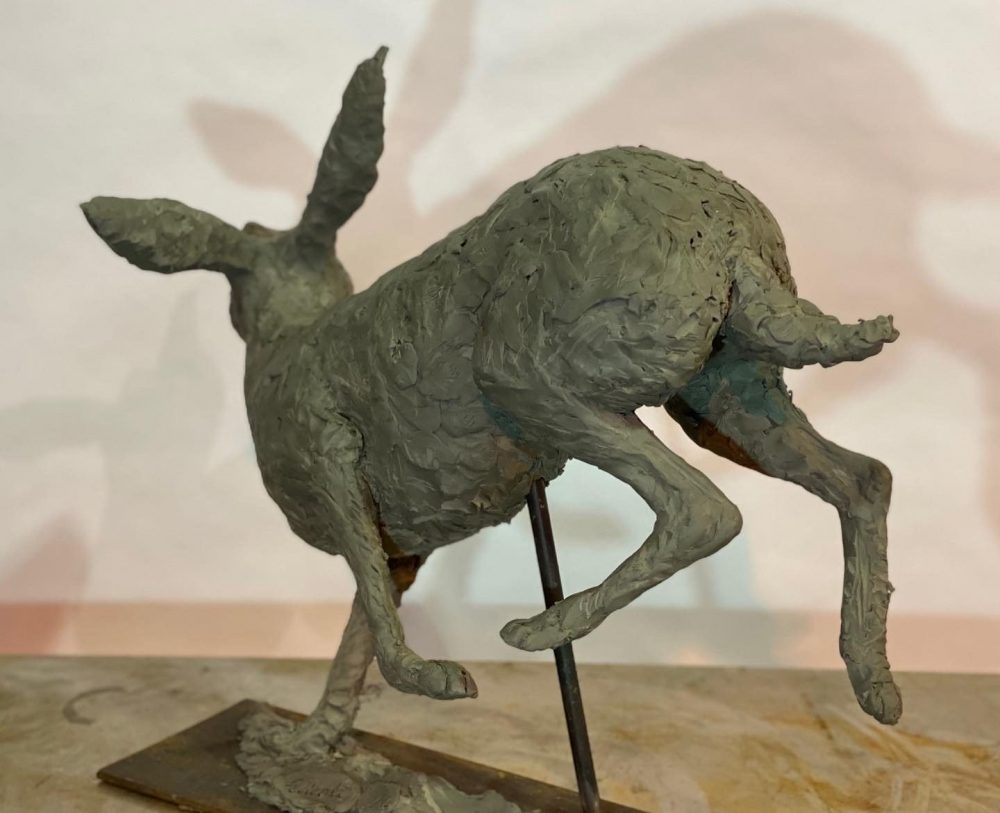 Running Hare 2020 Bronze Sculpture clay back view