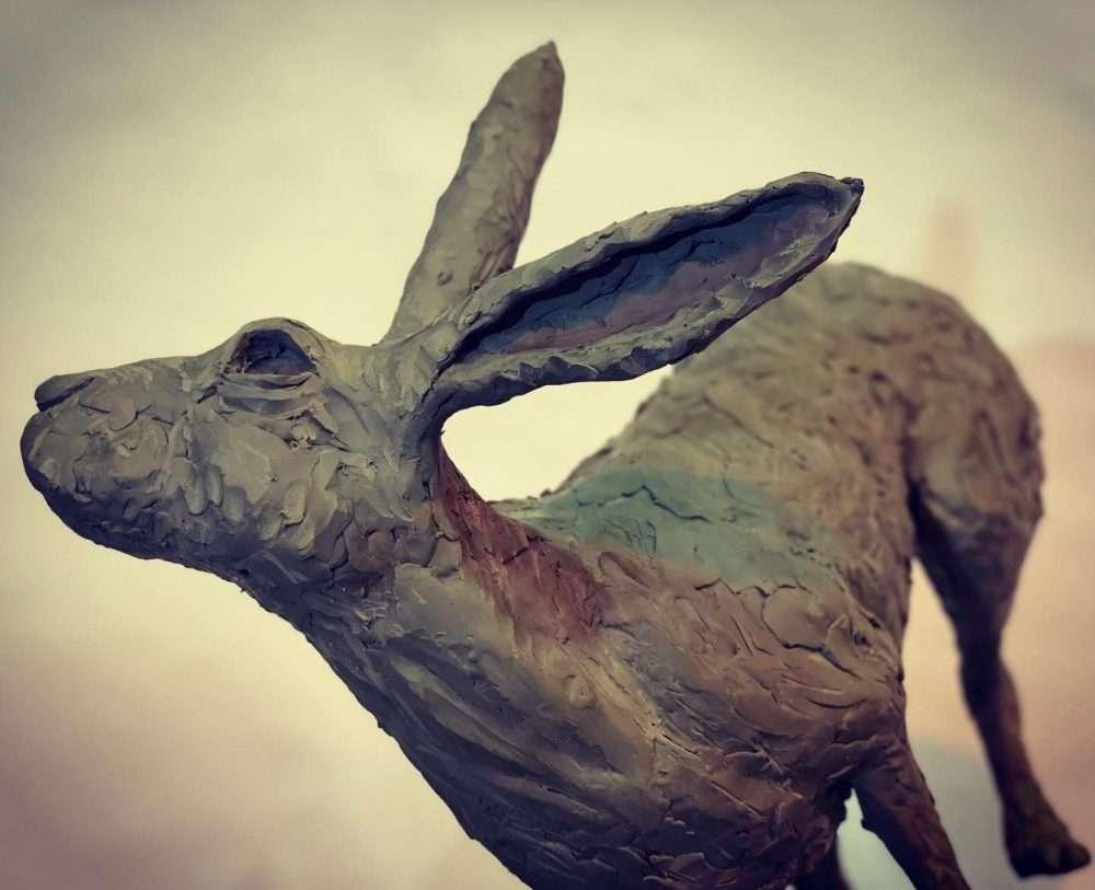Running Hare 2020 Bronze Sculpture clay close up
