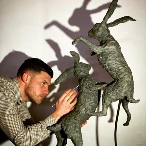 Boxing Hares 2020 being created