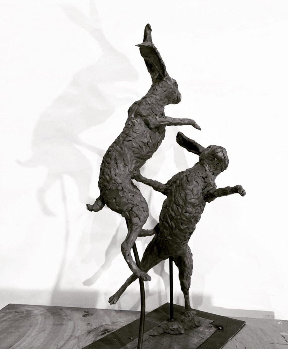 Boxing Hares 2020 side view