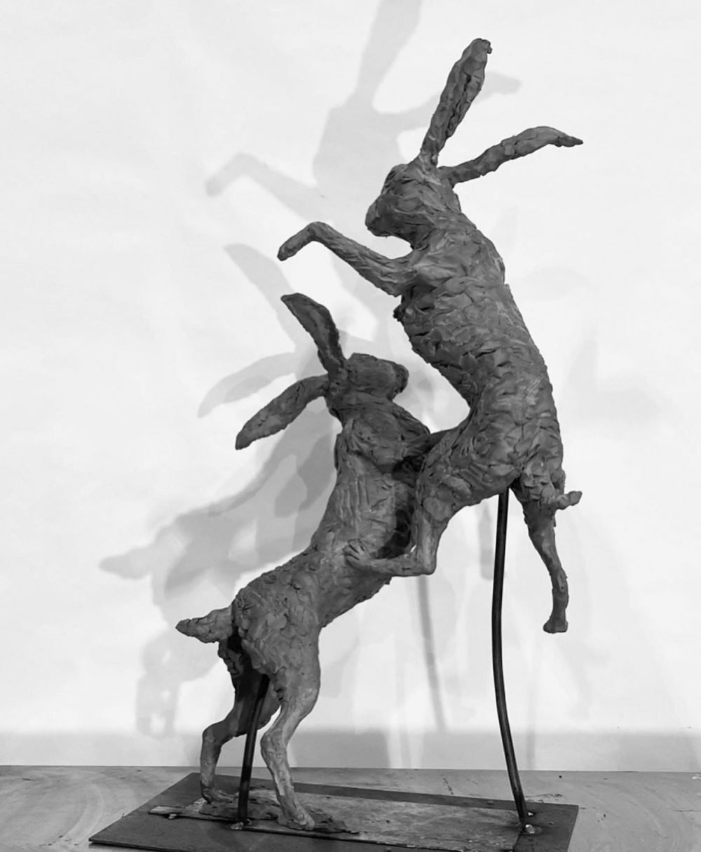 Boxing Hares 2020 back view