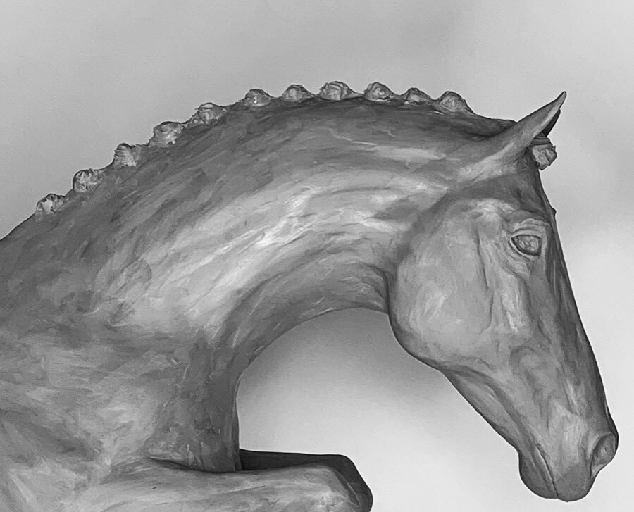 Jumping Horse 2019 Bronze Sculpture head shot