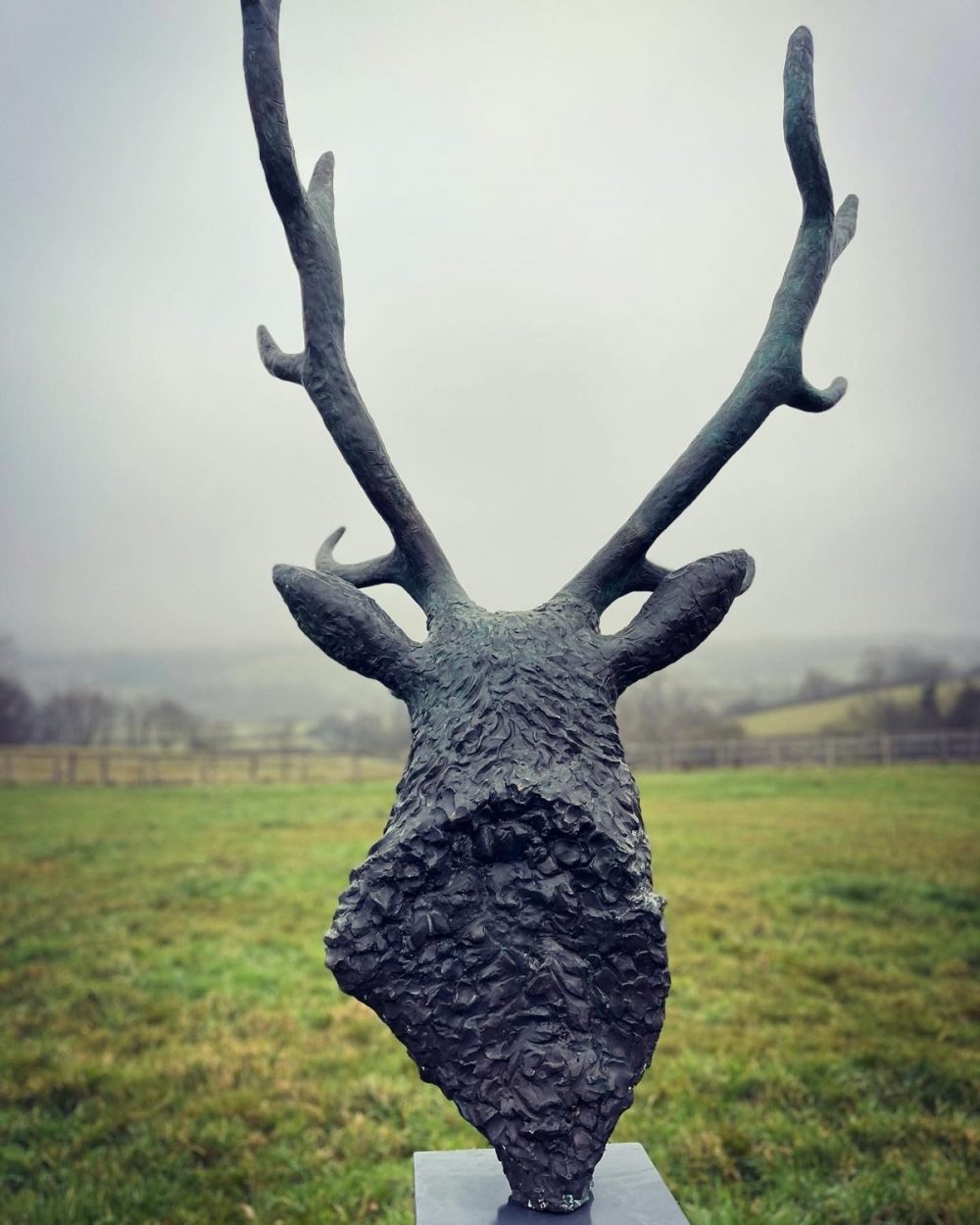 stag head sculpture back view