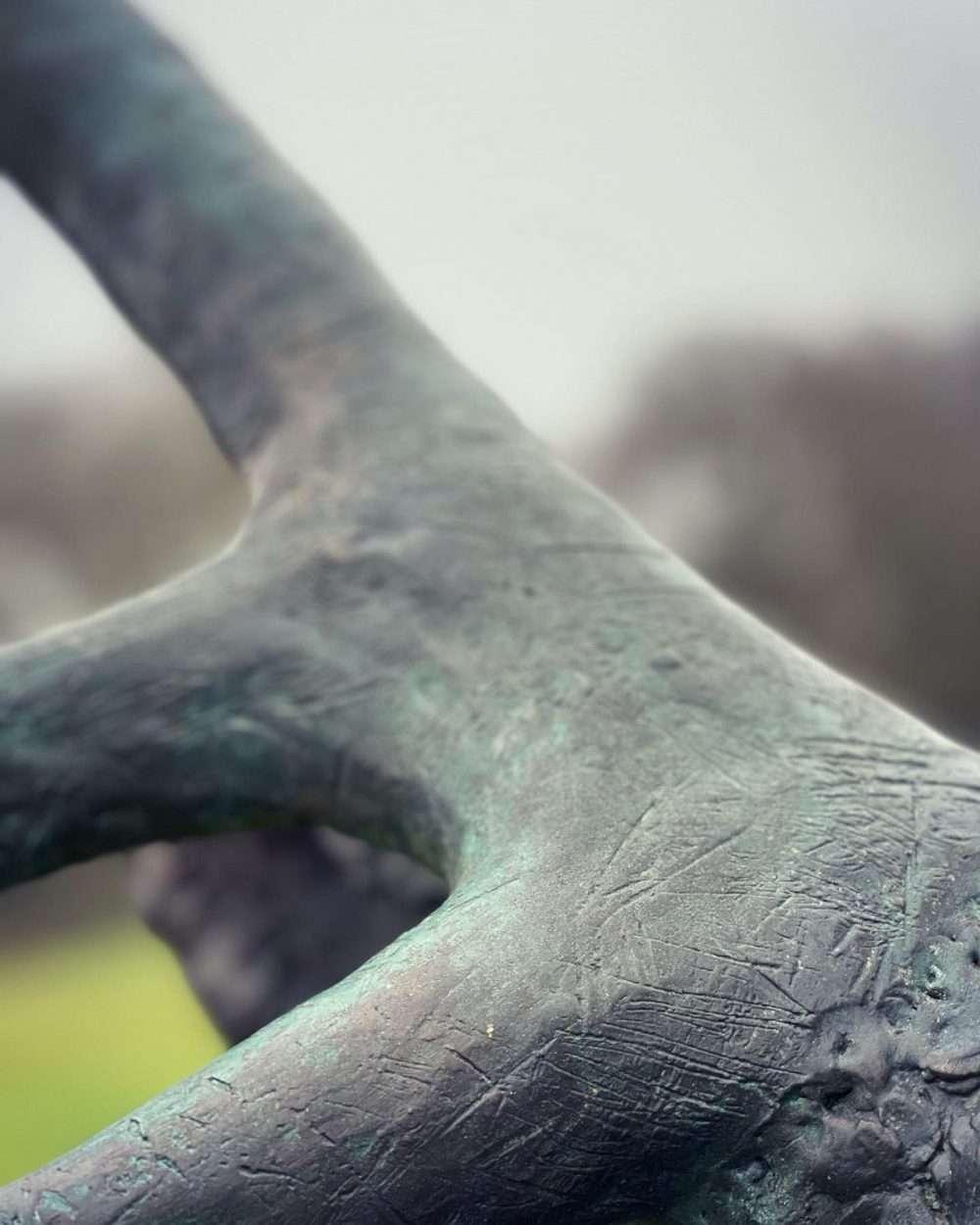 stag head sculpture antler markings