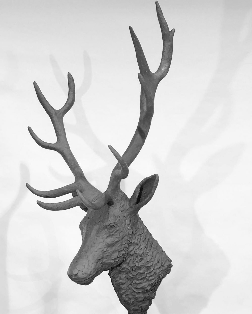 stag head sculpture clay