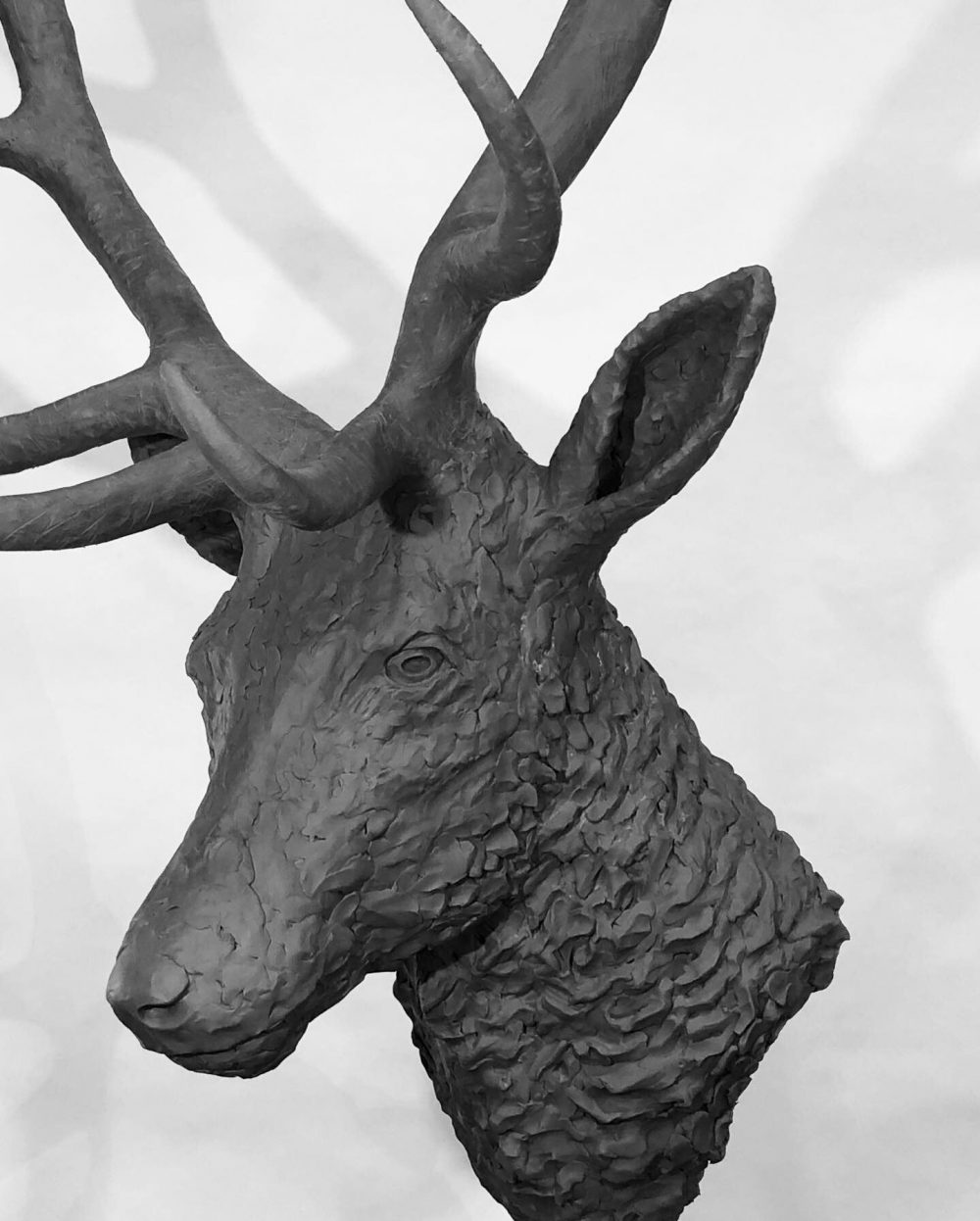 stag head sculpture close side view